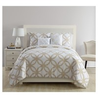 White & Gold Metallic Chloe Comforter Set (Twin/ Twin XL) 4pc - VCNY