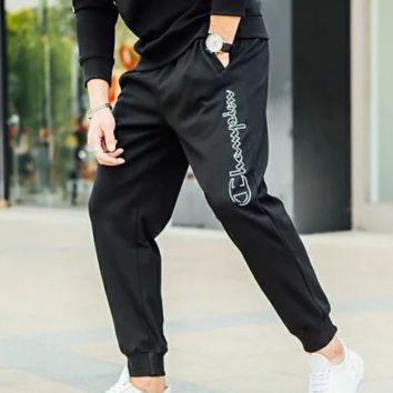 Champion New Fashion Autumn And Winter Letter Print Couple Warm Casual Pants Black