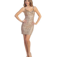 (PRE-ORDER) 2014 Prom Dresses - Gold Sequin & Beaded Cocktail Dress