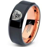 Oakland Raiders Ring Mens Fanatic NFL Sports Football Boys Girls Womens NFL Jewelry Fathers Day Gift Tungsten Carbide 084-R
