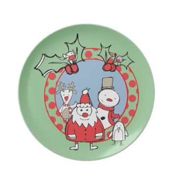 Santa and His Friends Dinner Plates