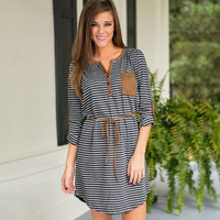 Gray Striped One Pocket Dress with Belt