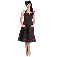 Hell Bunny 60's Rockabilly Vintage Polka Dot and Red Piping Black Halter Party Dress - Vanity Dress