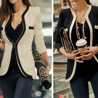 Color Block Pocket Slim Blazer Coat
