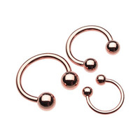"Rose Gold Horseshoe Ring 16g Septum Horseshoe 14g Cartilage Earrings 18g Nipple Ring Circular Barbell Tragus Jewelry (14g 1/2"" (5mm Balls))"