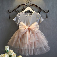New Pageant Baby Girls Sequins Tulle Bow Tutu Gown Fancy Princess Party Dresses