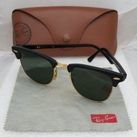 SUNGLASSES Ray-Ban Clubmaster Black Frame Green Lenses RB 3016 W0365 49/21 Case