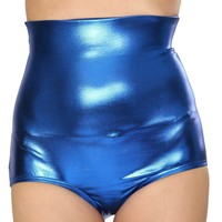 Blue (Royal) Metallic High Waist Shorts