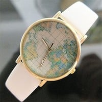 Pacific Ocean Map PU Belt Watch 050220 Color White XDP 0617