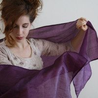 Silk wrap purple shawl peace silk scarf sheer evening wrap Silk wrap Ahimsa silk purple scarf Bridesmaid's gift  evening shawl DARK ORCHID
