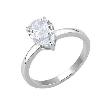 Audrey - Women's High Polished Stainless Steel Ring with AAA Grade Clear CZ Stone