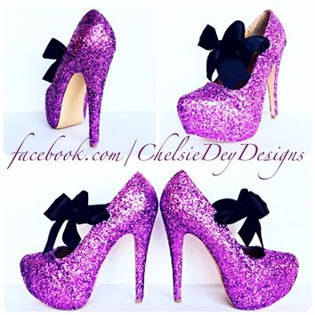 Glitter High Heels, Purple Sugar Plum Platform Prom Pumps