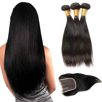 Brazilian Virgin Hair Straight with Closure 7a Brazillian Hair 3 Bundles Human Hair Weave with Closure