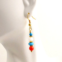 Pastel Orange and Blue Dangle Earrings, Beaded Earrings, Women's Jewelry, Cruise Wear, Gifts, Weddings