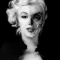 Dead Celebrities Series Half Skull. Stretched Canvas by Kristy Patterson Design