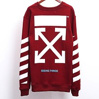 OFF-WHITE autumn and winter classic basic arrow printing men and women long-sleeved pullover sweater red