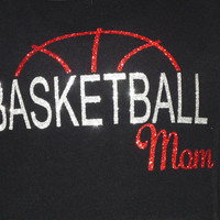 Basketball Mom Bling Shirt Hoodie Tee Sparkle Baseball Custom Choose your colors Made Team Coach School Player Gift Base Ball Sports