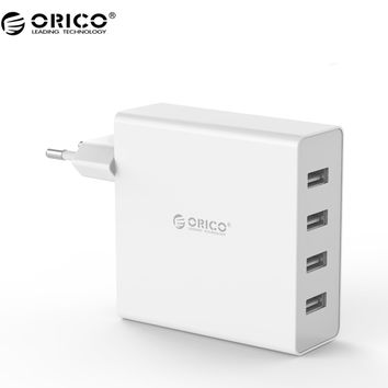ORICO DCW-4U 4-Ports Wall USB Phone Charger 5V2.4A*4 6A30W Total Output for iphone 7- Black White