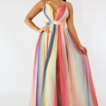 Rainbow Mesh Tulle Maxi Dress