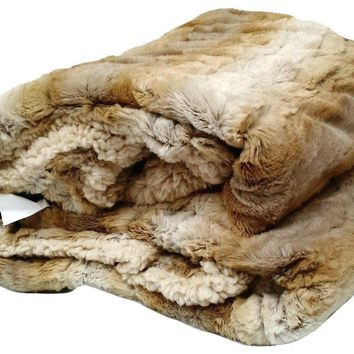 Tache Threshold Beige Faux Fur Throw Blanket (DY05)