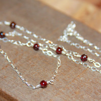 Silver Garnet Necklace, Delicate Garnet Necklace, Garnet Jewelry January Birthstone Necklace Simple Garnet Necklace, Dainty Garnet Necklace