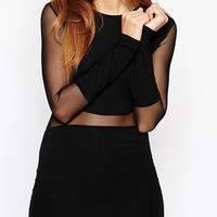 Black Bodycon Long Sleeve Dress with Mesh Cut-out