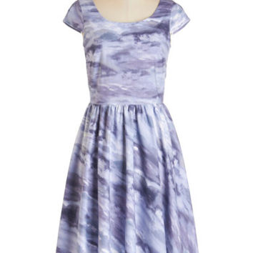 ModCloth Long Cap Sleeves A-line Feeling Storm and Cozy Dress