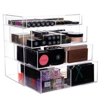Vencer Acrylic Makeup Organizer Holder Box with 4 Removable Drawers