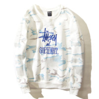 Stussy Embroidered tie-dye round collar loose casual lovers sweater White