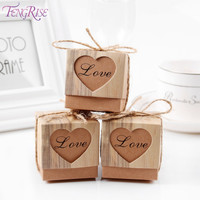 FENGRISE 50pcs Heart Candy Box Vintage Wedding Gifts For Guests Kraft Boxes With Rustic Burlap Twine Wedding Favors Decoration
