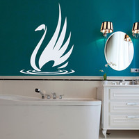 Swan Wall Decal River Birds Vinyl Stikers Art Mural Home Living Room Design Decals For Bathroom Spa Decor Nautical Interior Design KY71