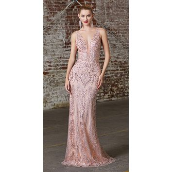 CLEARANCE - Long Fitted Blush Gown Glitter Print Plunging V-Neckline (Size Large)