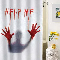 Dexter Psycho bloody help me,Halloween Decoration shower curtain special custom shower curtains that will make your bathroom adorable