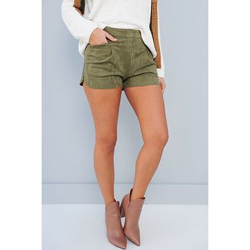 We Look Good Together Faux Suede Shorts (Olive)