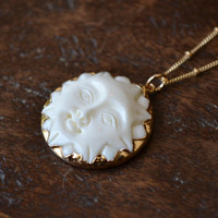 XMAS IN JULY Man In The Sun Necklace /// Electroformed Carved Bone Moon /// Gold