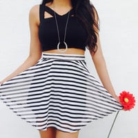 Black White Striped Skirt