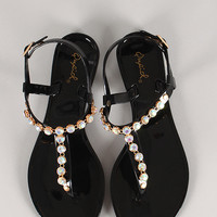 Qupid Getty-05B Slingback Jeweled Thong Jelly Flat Sandal