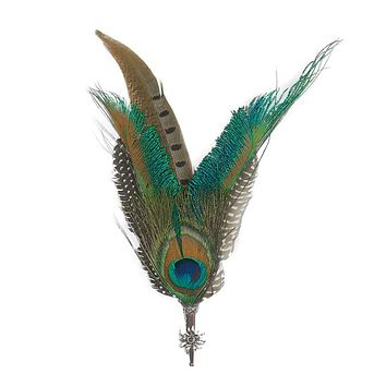 Peacock & Pheasant Fedora Feather Pin with Edelweiss Medallion