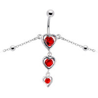 Ruby Red Gem Sweetheart Belly Chain   Body Candy Body Jewelry