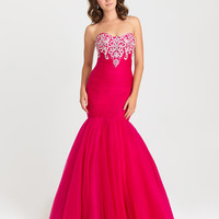 Madison James 16-386 Tulle Mermaid Prom Dress Evening Gown