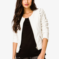 Spiked Trim Faux Leather Jacket