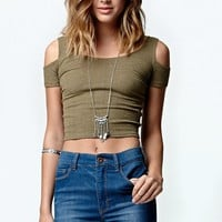 LA Hearts Ribbed Cropped Cold Shoulder Top - Womens Tee