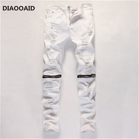 2018 new white men's casual skinny slim jeans stretch ripped trousers in knee male  zipper fashion and comfortable elastic pants