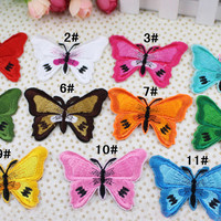 7*5.3cm Multi colors options Butterfly Patch Iron On or Sew on Embroidered Applique Diy Decoration Patches 20010007