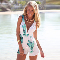 Green Foliage Print V-Neck Sleeveless Rompers