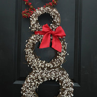 Christmas Wreath - Snowmen Wreath - Snowman Wreath - Choose Scarf