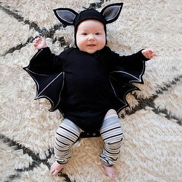 Novelty Baby's Romper Toddler Newborn Baby Boys Girls Halloween Cosplay Costume Romper Hat Outfits Batwing Sleeve Baby Clothing