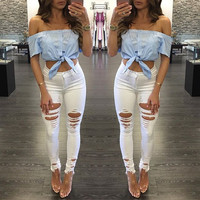 Light Blue Off Shoulder Tied Crop Top