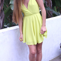 Yellow Strappy Back Skater Dress