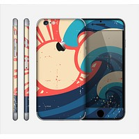 The Retro Vintage Blue vector Waves V3 Skin for the Apple iPhone 6